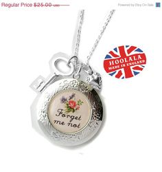 Victorian Love Token Forget Me Not Key and Locket Charm by hoolala $25.00