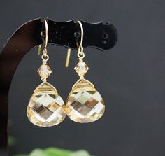 Wedding Jewelry Bridal Earrings Bridesmaid Earrings Golden Shadow