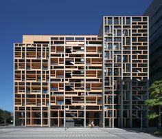 Façades Confidential: Mokuzai Kaikan: Japanese timber revisited in Tokyo Mix Use Building, Building Design, Facade Architecture, Amazing Architecture, Facade Design, Exterior Design, Japan Apartment, Facade Pattern, Koh Chang