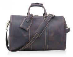 Men's Leather Holdall Duffel Weekender Travel Bag