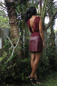 backless dress, lace and leather dress, burgundy short dress