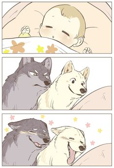 Probably The Cutest Wolf Comics On The Planet . - Probably The Cutest Wolf Comics On The Planet - Anime Wolf, Cute Animal Drawings, Kawaii Drawings, Cute Funny Animals, Funny Cute, Wolf Comics, Japon Illustration, Furry Drawing, Anime Animals