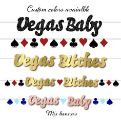 Planning a Vags or Casino Night Bachelorette Party then this is the perfect banner for you! Choose from the pull down menu: Vegas Baby Banner (tallest letter is about 4 tall) (choose colors from the g Bachelorette Party Pictures, Bachelorette Party Cookies, Disney Bachelorette, Bachelorette Party Decorations, Rainbow Party Decorations, Poker, Baby Banners, Wedding Games, Party Activities