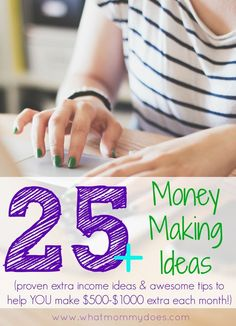 25+ Proven Money Making Ideas - Making money doesn't have to be a mystery. Here are over a dozen awesome money making tips (some online ideas, some offline jobs) so you can earn extra cash for your family, save for a vacation, pay for Christmas, etc! Some of the ideas can be turned into side jobs that make you an extra $500-$1000 per month! make money from home, ways to make money at home