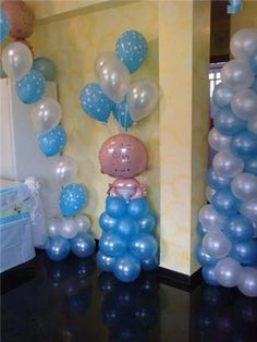 boy baby shower balloon column