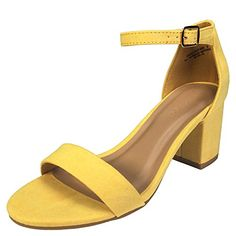 4cbbb1c23bf Bamboo Women s Block Heel Sandal with Ankle Strap