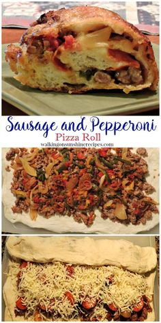 Sausage and Pepperoni Pizza Roll is a family favorite recipe from Walking on Sunshine Recipes. Pizza Recipes, Dinner Recipes, Cooking Recipes, Hot Sausage Recipes, Skillet Recipes, Cooking Tools, Beef Recipes, Italian Dishes, Italian Recipes