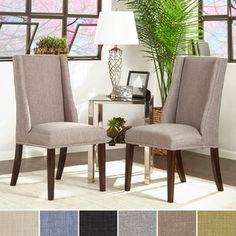 INSPIRE Q Geneva Grey Fabric Wingback Hostess Chairs (Set of 2) | Overstock.com Shopping - The Best Deals on Dining Chairs