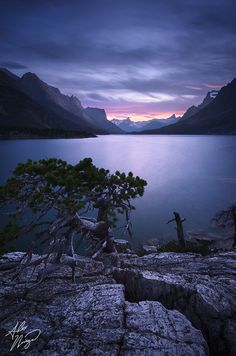 Glacier National Park's St. Mary Lake at twilight on a summer evening.