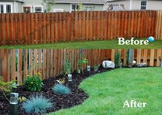 Backyard Landscaping Along A Straight Wood Fence.