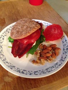 Day 15; lunch: BLT with turkey bacon, tomato slice, spinach, olive oil mayo. Side of almonds & walnuts