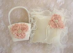 Flower Girl Basket and Pillow Blush Rose by nanarosedesigns