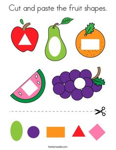 Cut and paste the fruit shapes Coloring Page - Twisty Noodle Preschool Learning Activities, Color Activities, Preschool Activities, Teaching Kids, Physical Activities, Physical Education, Hand Crafts For Kids, Shape Coloring Pages, Shapes For Kids