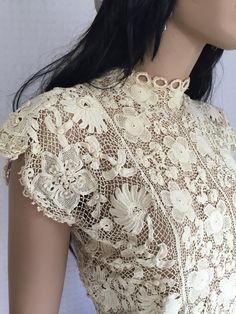 RESERVED for ANGIE Vintage Antique Crochet Lace Blouse - Ivory Lace Doily Hippie…