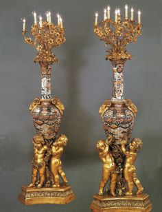 A Large and Unique Pair of Mid 19th Century Napoleon III Ormolu Mounted Imari Porcelain Eleven Light Torcheres