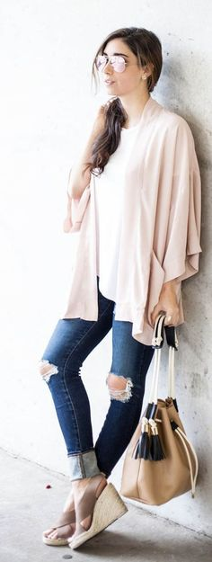 #nude #neutrals #spring #style #outfitideas | Nude Flowy Kimono + Denim | The Darling Detail
