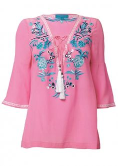 Pink Silk Embroidered Tunic Top