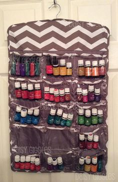 Taupe Chevron Hanging Organizer Storage for Essential Oils , Jewelry, Hair Bows & More - May be Monogrammed on etsy.com