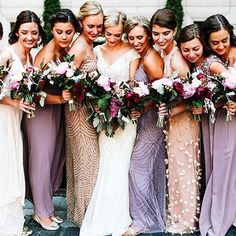 Mismatched bridesmaid dress perfection in the form of off-white, blush, and lilac floor-length dresses  | : @givingtreephotography