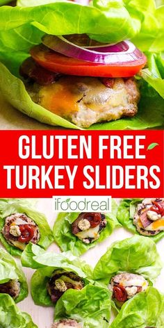 These Healthy Turkey Burger Sliders are fast, juicy and flavourful. With a bit of bacon, cheese and traditional fixings, everyone will love these mini burgers wrapped in lettuce. Delicious Crockpot Recipes, Healthy Turkey Recipes, Healthy Family Meals, Low Carb Dinner Recipes, Healthy Breakfast Recipes, Clean Eating Recipes, Turkey Burger Sliders, Best Turkey Burgers, Mini Burgers