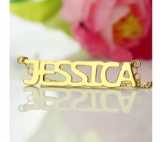 Jessica Style Name Necklace in Solid Yellow Gold