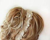 Lace ıvory Pearl  Flowers Headband, Bridal Hair Accessories, Wedding Hair Accessories, Pearl Headband,  Bridal, Bridesmaid Headband