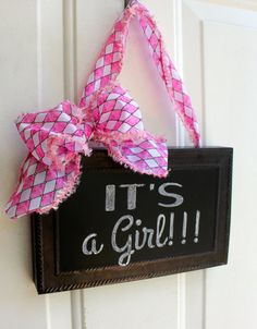 CHALKBOARD Sign Door Hanging Pink and White by ChalkitupDecor, $25.00