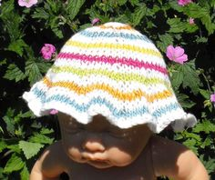 Looking for your next project? You're going to love Baby Silky Stripey Sunhat by designer madmonkeyknits.