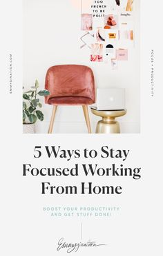 Chasing your dream from home can be distracting. Start becoming more productive with my top 5 ways to stay focused working from home. Increase your productivity by clicking through and reading this post :) #EntrepreneurTips #BusinessTips #ProductivityTips