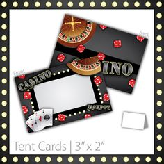 """Casino Party Tent Cards : Blank . PRINTABLE . Casino Night ~ $6.00 ~ Size: 3""""w x 2""""h ~ casino tent cards, printable casino tent cards, printable tent cards, casino tent sign, casino party sign, casino party signage, casino theme, casino food labels, casino food signs, black casino, black tent cards, casino name sign, casino name tent cards, classy casino, classy casino tent cards, fancy casino, modern casino tent cards, birthday tent cards ~ https://www.etsy.com/listing/96532960"""