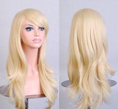 Şık Kıvırcık Saç ped Işık Sarışın peruk Cospaly 70 CM Genç uzun Sentetik Saç Perruque peruca peluca feminina Lolita