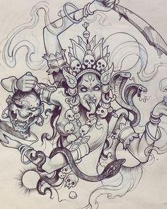 Kali Tattoo, Tribal Tattoos, God Tattoos, Body Art Tattoos, Hindu Tattoos, Tattoo Sketches, Tattoo Drawings, Art Sketches, Art Drawings