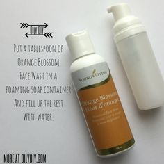 I love saving to money.  This tip & trick will for sure save you money as it will help make your Orange Blossom Botanical Face Wash last longer...a lot longer.  Take a tablespoon of Orange Blossom Face Wash and add it to a Foaming Soap Container.  Fill up the rest with water...be careful t