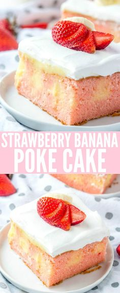 Easy and delicious this Strawberry Banana Poke Cake is a flavorful, fun and unique dessert that combines two iconic flavors into one! via # unique Desserts Strawberry Banana Poke Cake {A Fun Flavorful Summertime Dessert} Poke Cake Recipes, Dessert Cake Recipes, Poke Cakes, Dessert Food, Layer Cakes, Dessert Bars, Cupcake Recipes, Dessert Ideas, Strawberry Banana Cakes
