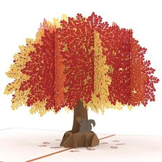 The burnt orange cover of the oak pop-up card depicts a delightful laser-cut illustration of an acorn and oak tree leaf. Open the pop-up card to reveal a sculpture as majestic as the real thing. Cardboard Sculpture, Tree Sculpture, Tree Crafts, Paper Crafts, Pop Up Karten, Libros Pop-up, 3d Tree, Book Tree, Origami And Kirigami