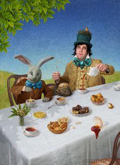 ALICE IN WONDERLAND BY IRINA MIKHAILOVA Alice In Wonderland 1, Adventures In Wonderland, Tea Party Pictures, Go Ask Alice, Alice Tea Party, Through The Looking Glass, Borderlands, My Childhood, Halloween