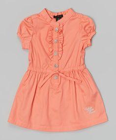 Orange Button-Up Dress - Infant, Toddler & Girls