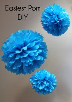 Easiest Pom Pom DIY Supplies you'll need:  - 10 Sheets of tissue paper- preferably 20x26 inches - Scissors - 10 inch piece of floral wire - Needle Nose pliers *instructions for Large Pom   Set stack of tissue paper facing away from you lengthwise  Begin folding stack of paper accordion ...