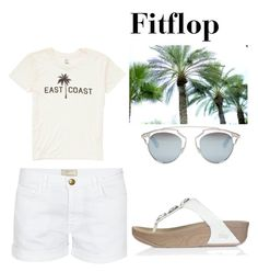 """""""Womens Fitflop Pietra Toning White Sandals"""" by chrissybarby ❤ liked on Polyvore featuring Billabong, Current/Elliott and Christian Dior"""