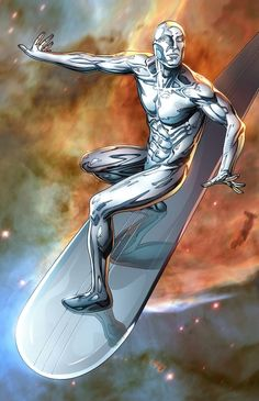 Silver Surfer flying in space. Artwork is on cover card stock. Signed by Mike S. Marvel Comic Books, Comic Book Characters, Comic Book Heroes, Silver Surfer, Galactus Marvel, Alpha Flight, Black Bolt, Superhero Villains, Moon Knight