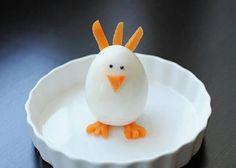 Pollito con huevo cocido y zanahoria