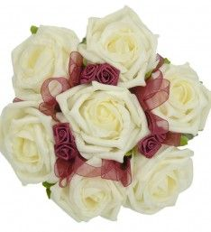 Artificial Ivory & Burgundy Childrens Rose Posy