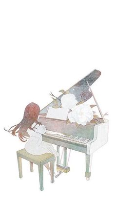 Jouer Du Piano, Music Clipart, Piano Art, Music Drawings, Cartoon Sketches, Girl Themes, Illustration Girl, Love Painting, Anime Art Girl