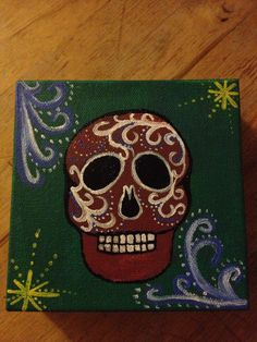 Acrylic on Canvas Dia De Los Muertos Calavera by Ketties on Etsy, $30.00