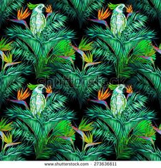 Beautiful seamless vintage floral jungle pattern background. Parrots, tropical flowers, palm leaves and plants, bird of paradise flower, exotic print