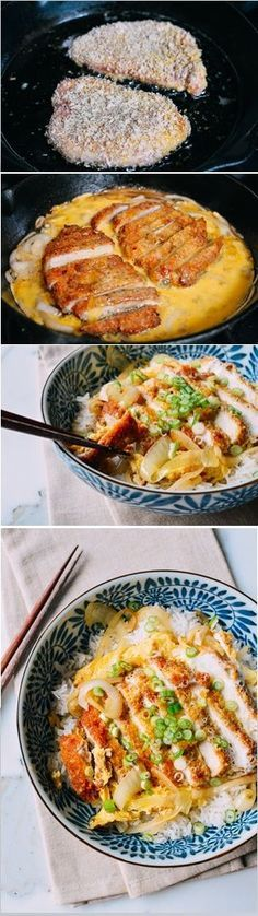 Japanese Pork Cutlet and Egg Rice Bowl Katsudon by thewoksoflife: Panko breaded pork chop over rice with scallions and egg.Katsudon by thewoksoflife: Panko breaded pork chop over rice with scallions and egg. Pork Recipes, Asian Recipes, Chicken Recipes, Cooking Recipes, Healthy Recipes, Recipies, Recipe Chicken, Chicken Rice, Sweets Recipes