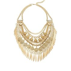 Cara Layered Collar Necklace (21 AUD) ❤ liked on Polyvore featuring jewelry, necklaces, accessories, jewelry necklaces, gold, gold layered necklace, gold spike necklace, spike necklace, gold pendant and filigree pendant necklace