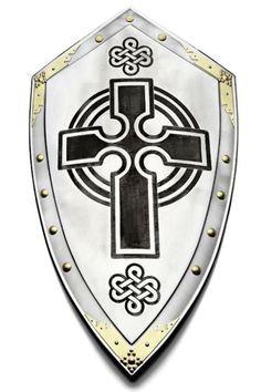 Escudo Cruz Templaria, escudo medieval con grabaciones en negro de la cruz del temple