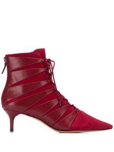 Alexandre Birman Pointed Ankle Boots In Red Low Heel Shoes, Low Heels, Shoes Heels, Pointed Ankle Boots, Alexandre Birman, Red Boots, High Top Sneakers, Luxury Fashion, Kitten Heels