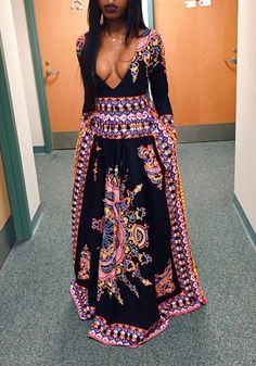 de3161619cb Tribal Floral African Patterns Print Plunging Neckline Boho Homecoming Sexy  Dress Ghana Style